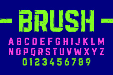 Brush style modern font, alphabet and numbers