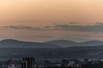 Orange sunset behind the mountains Quebec City Canada
