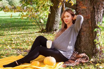 Pregnant woman sitting in the autumn park and drinking hot drink