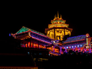 Kek Lok Si temple light up in Penang during the Chinese New Year