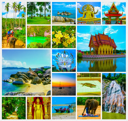 The collage from views of Samui island. Thailand