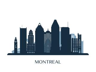 Montreal skyline, monochrome silhouette. Vector illustration.