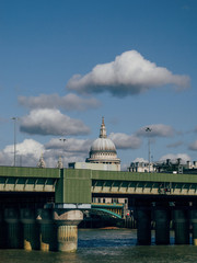 St Pauls Cathedral and Cannon Street Railway Bridge in foreground, London, UK