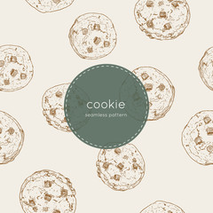 chocolate chip cookie., seamless pattern vector.