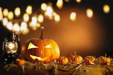 Halloween still life background with copy space