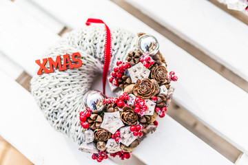 Christmas decoration, winter mood, holiday decoration. Interior design elements for christmas