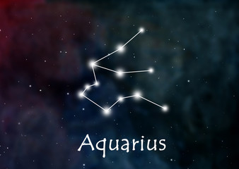 Aquarius horoscope or zodiac or constellation illustration