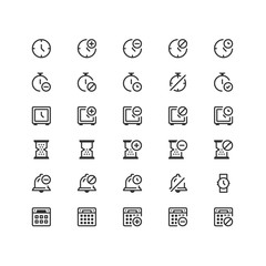 Minimal icon set of Time and Calendar Vector Line Icons Collection , good choice to use for website project , Ui and Ux design, mobile app and more. All vector icons based on 32px grid.
