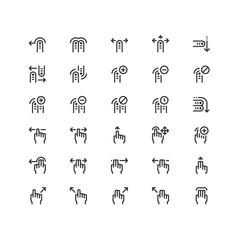 Minimal icon set of Finger Touch Vector Line Icons Collection , good choice to use for website project , Ui and Ux design, mobile app and more. All vector icons based on 32px grid.