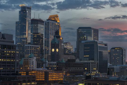 Minneapolis downtown skyline at night