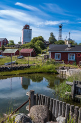 Utö island village in Finnish archipelago traditional red wood houses