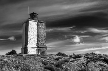 Black and white photo of the lighthouse of Utö Baltic sea