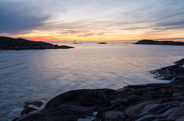 Quiet shores of Utö island in the Baltic sea during the sunset time