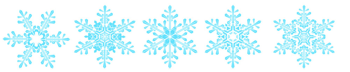 Schneeflocken Set isoliert auf weißem Hintergrund