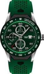 Green steel watch chronograph on white background vector illustration.