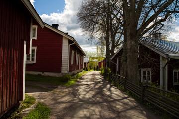Red traditional wooden scandinavian houses in Porvoo region Finland
