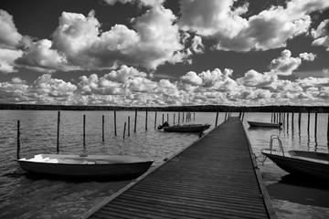 Empty wooden boat pier in Uusimaa region in Finland Nordic Europe