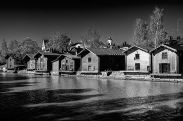 Old wooden boat houses along porvoonjoki river UNESCO unesco world heritage Porvoo town