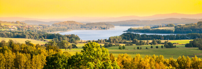 Printed kitchen splashbacks Orange Autumn landscape at Lipno water reservoir, Sumava National Park, Southern Bohemia, Czech Republic.