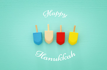 jewish holiday Hanukkah image background with traditional spinnig top
