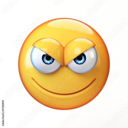 Evil emoji isolated on white background, mischievous