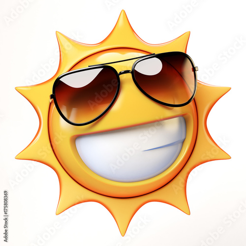 765ad806e8ba Cartoon sun with sunglasses emoji isolated on white background ...