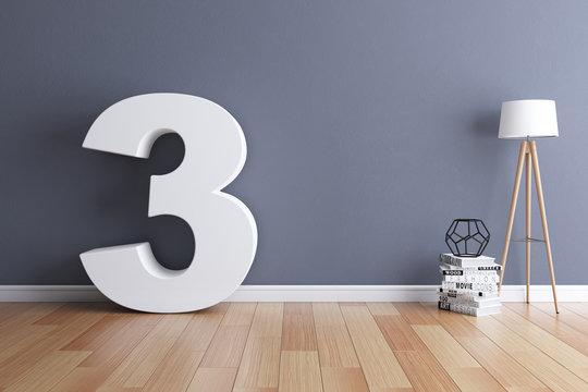 Mock up interior font 3d rendering number 3