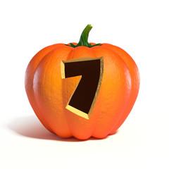 Halloween pumpkin font number 7 3d rendering