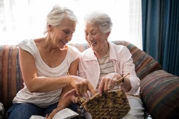 Cheerful senior women talking about knitting while sitting on