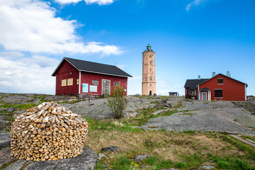 Red wooden buildings at the Söderskär island in Finland