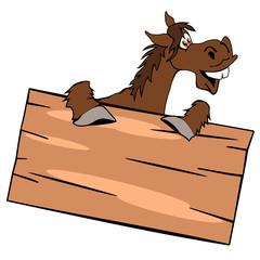 Lachendes Pferd mit einem Holzschild, weißer Hintergrund
