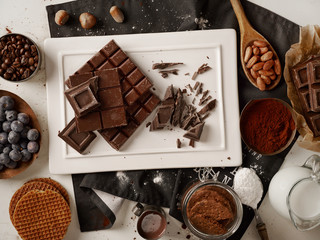 Homemade chocolate and ingredients