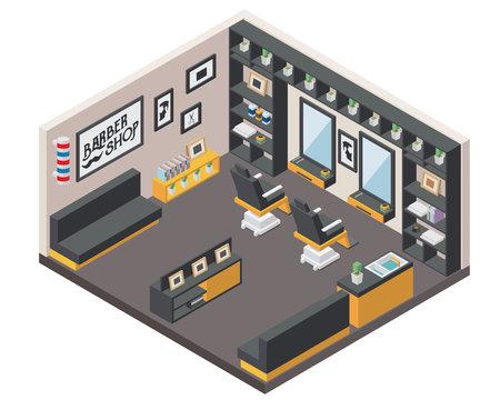 Modern Isometric Gentleman Barbershop Interior Design in isometric view.