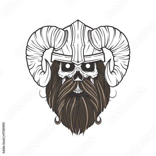 Skull Viking With Horns And Beards Stock Image And Royalty Free
