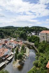 View of the beautiful Castle and garden in Cesky Krumlov in Czech Republic.
