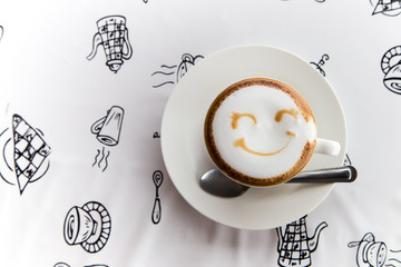 smile on coffee with table