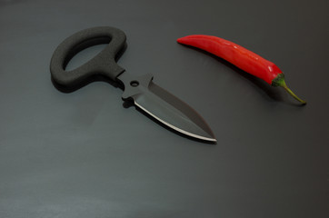 Black knife is sharpened on two sides.