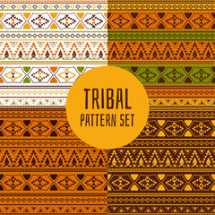 Set of tribal pattern vector seamless. Native American, Aztec, Mexican indian, Peru inca or African print. Ethnics background for fabric, wallpaper, wrapping paper and card template.