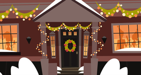 Decorated House Front Door With Wreath Winter Holidays Building, Merry Christmas And Happy New Year Concept Flat Vector Illustration