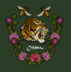Tiger, bee and peony flowers embroidery patches for textile design