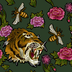 Tiger, bee and peony flowers embroidery p-attern for textile design.