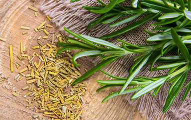 Fresh raw and dry rosemary on rustic background.