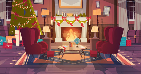 Living Room Decorated For Christmas And New Year, Empty Armchairs Near Pine Tree And Fireplace, Home Interior Decoration Winter Holidays Concept Flat Vector Illustration