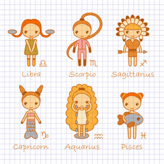 vector color hand drawing zodiac signs Libra, Scorpio, Sagittarius, Capricorn, Aquarius, Pisces