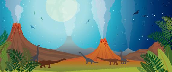 Prehistoric nature - volcano, dinosaur, fern and night.