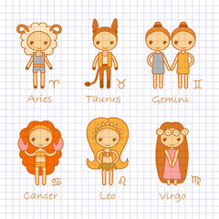 vector color hand drawing zodiac signs Aries, Taurus, Gemini, Cancer, Leo, Virgo