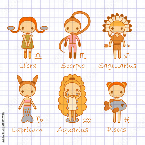 vector color hand drawing zodiac signs Libra, Scorpio