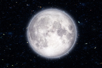 Super moon in the galaxy background, Elements of this image furnished by NASA