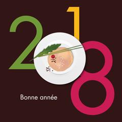 2018 - gastronomie - foie gras - carte de vœux -restaurant - réveillon