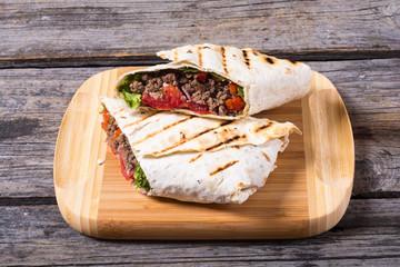 Homemade tasty burrito